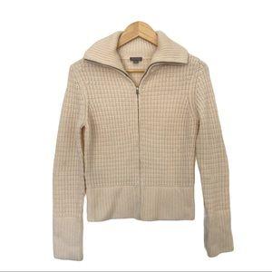 Ann Taylor XS Cashmere Sweater Zip Bomber Jacket